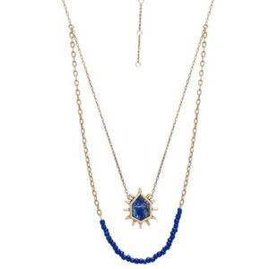 rebecca minkoff // gold + lapis layered necklace